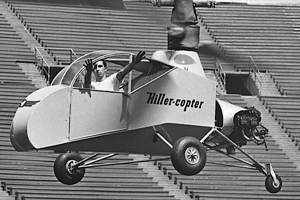 Stan Hiller demonstrates the amazing stability of his co-axial XH-44 helicopter at the University of California, Berkeleys Memorial Stadium. Jeff Evans Collection Photo