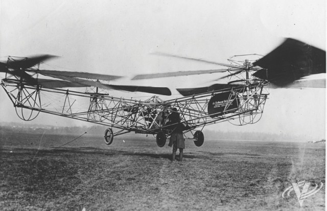 The de Bothezat quad-rotor-configured helicopter was the first rotorcraft built for the U.S. military; it flew for the first time in October 1922 at McCook Field in Ohio. Jeff Evans Collection Photo
