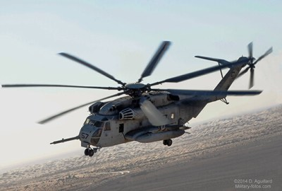U.S. Marine CH-53E during the Weapons Tactics Instructor School flying over the Colorado Desert of Southern California.
