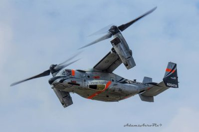Zane Adams shared this shot of a rocket-equipped MV-22 spotted in Texas last month.