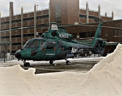 West Michigan AirCare's AS365 N2 in a winter wonderland.
