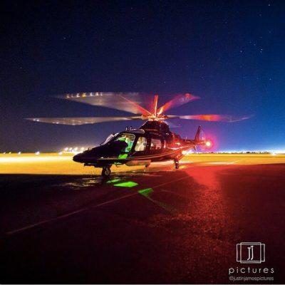 An Agusta A109 doing marine pilot transfers.