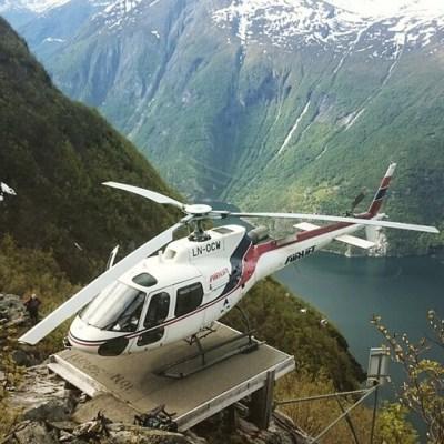 Landing in the Norwegian mountains.