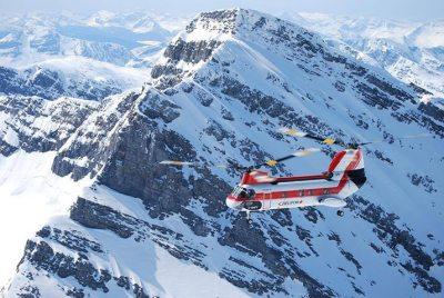 Helifor Vertol 107-II crossing the Rockies.