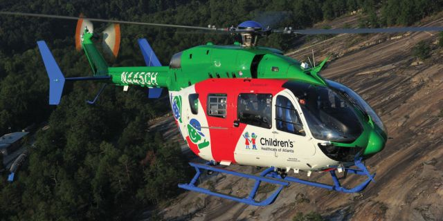 Children's Health Care of Atlanta is the launch air medical customer for the EC145e, a modern, lighter-weight version of the EC145. Skip Robinson Photos