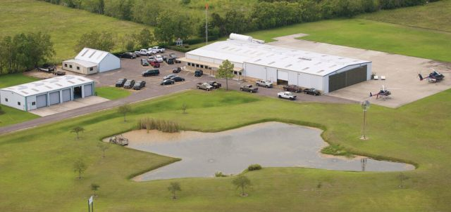 An idyllic setting for Westwind's Santa Fe, Texas, headquarters -- complete with a fishpond in the shape of Texas.