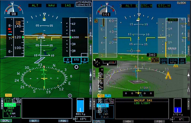 Synthetic vision on the latest version of the Helionix avionics suite has been augmented with helipads and obstacles. Airbus Photos