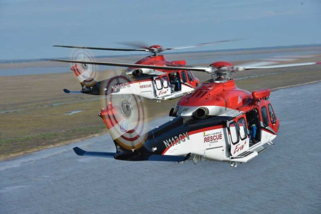 Two Era Leonardo AW139s take flight in the Gulf of Mexico. The aircraft's powerplants are PT6C-67Cs. Dan Megna Photo