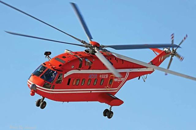 The 13-ton Avicopter AC313 is an updated design based on the Harbin Z-8, which is itself a derivative of the Aérospatiale SA321 Super Frelon. AVIC Photo