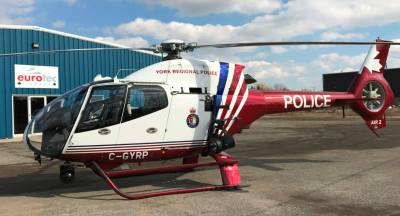 The York Regional Police H120 helicopter, Air2, rests at EuroTec Canada's facility in Millgrove, Ont. EuroTec Photo