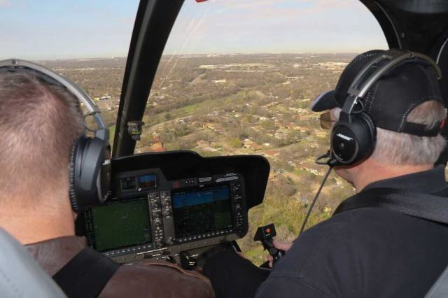 The author (right seat) trying out the 505, with the standard G1000H integrated avionics system. Guy R. Maher Photo