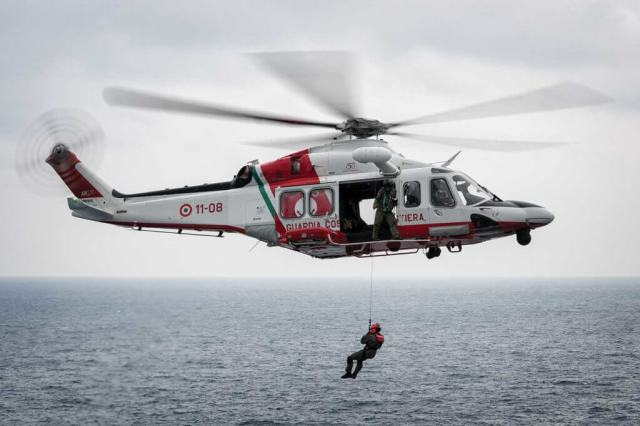 Guardia Costiera's AW139s are equipped with Breeze-Eastern electric rescue hoists. The helicopters' elongated noses contain weather radar.