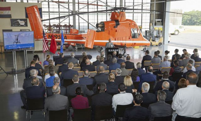 Kaman Corporation's launch customer Lectern Aviation Supplies Co., Ltd. of Hong Kong recently accepted the first two production K-MAX aircraft built on Kaman's re-opened production line. This photo was taken during the acceptance ceremony. Kaman Photos