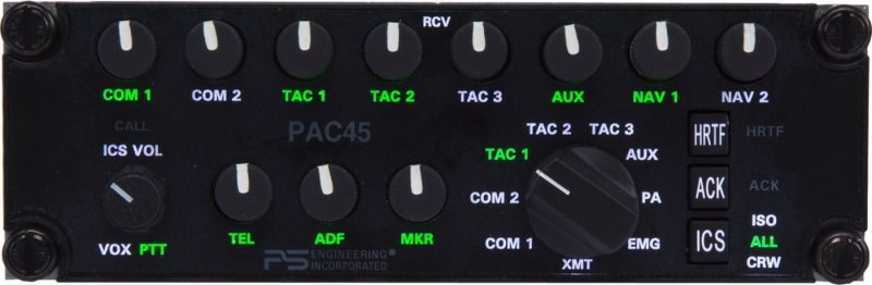 A front-panel view of the PAC45. It allows users to place six audio channels in up to nine positions. PS Engineering Photo