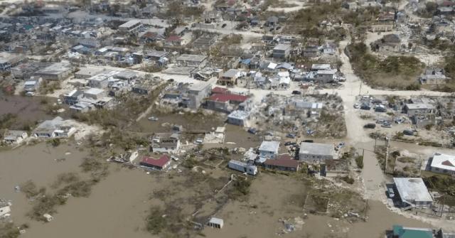 An aerial view of hurricane-stricken land.