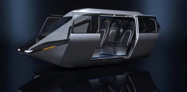 The four-passenger cabin demonstrates Bell's view of an on-demand mobility aircraft that focuses on a people-first engineered user experience tailored with an urban air taxi ride.