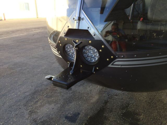 The nose mount is best used for attaching camera systems, antennae, searchlights, and more to the helicopter. Meeker Aviation Photo