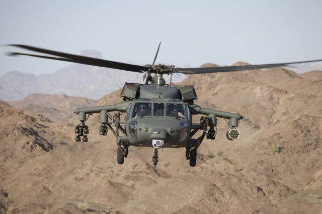 An S-70 Black Hawk helicopter armed with four forward-firing guns, rocket pod and laser-guided missiles. Lockheed Martin Photo
