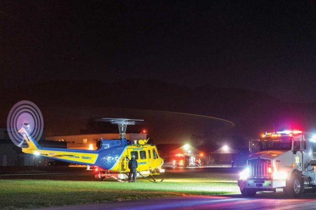 Ventura's Copter 7 is shown hot refueling at the Santa Paula Airport on the first night of the Thomas Fire. MSAVI Photography