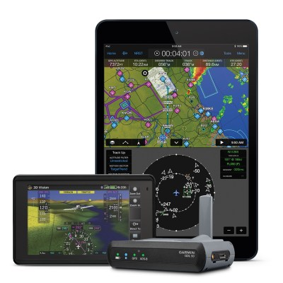 The GDL 50 is capable of receiving Automatic Dependent Surveillance-Broadcast (ADS-B) traffic and weather, GPS and aircraft attitude information for display on select portables and mobile devices. Garmin Photo