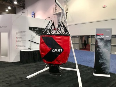 The new DART Aerospace aerial firefighting buck, which has been unveiled at Heli-Expo 2018. DART Aerospace Photo
