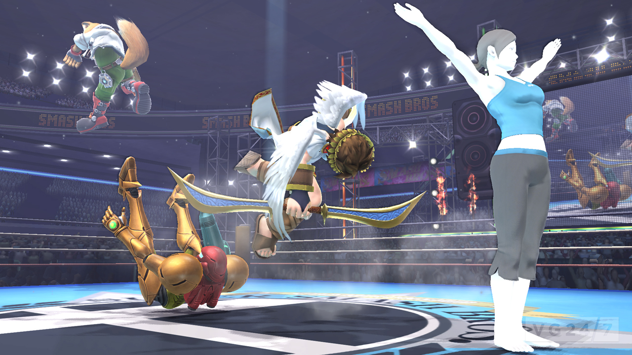Smash Bros Wii U Screens Show Wii Fit Trainer Smacking
