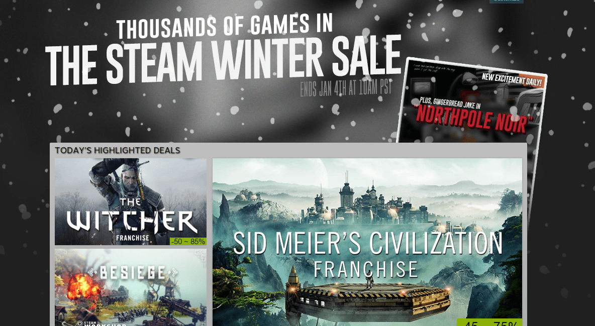 Steam Winter Sale Is Now Live Lacks Pointless Minigames