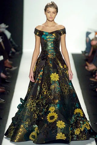 Nataliya Gotsii wears a gown from Oscar de la Renta's Fall 2005 collection