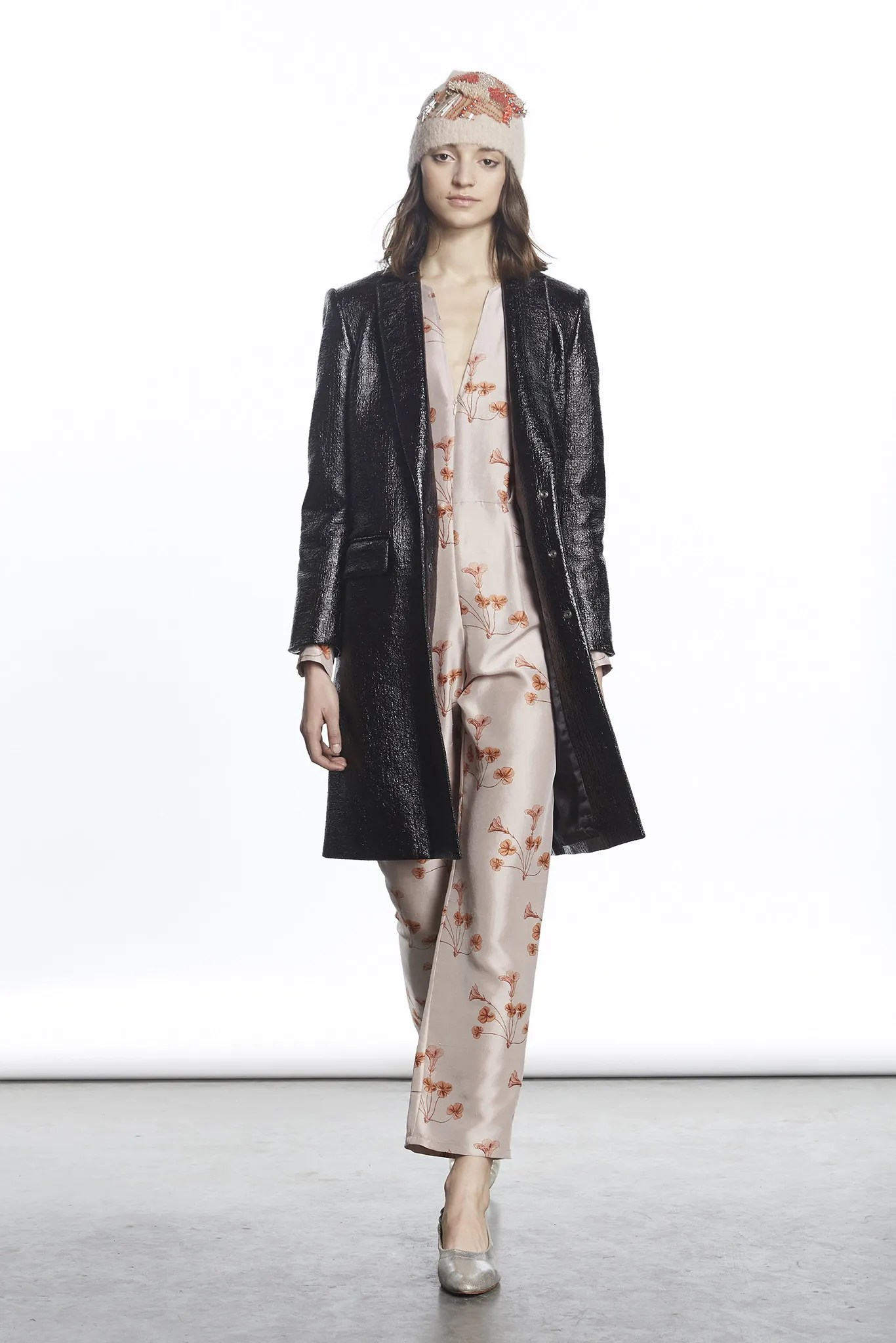Rachel Comey jacket and Botanical print jumpsuit, Fall 2015