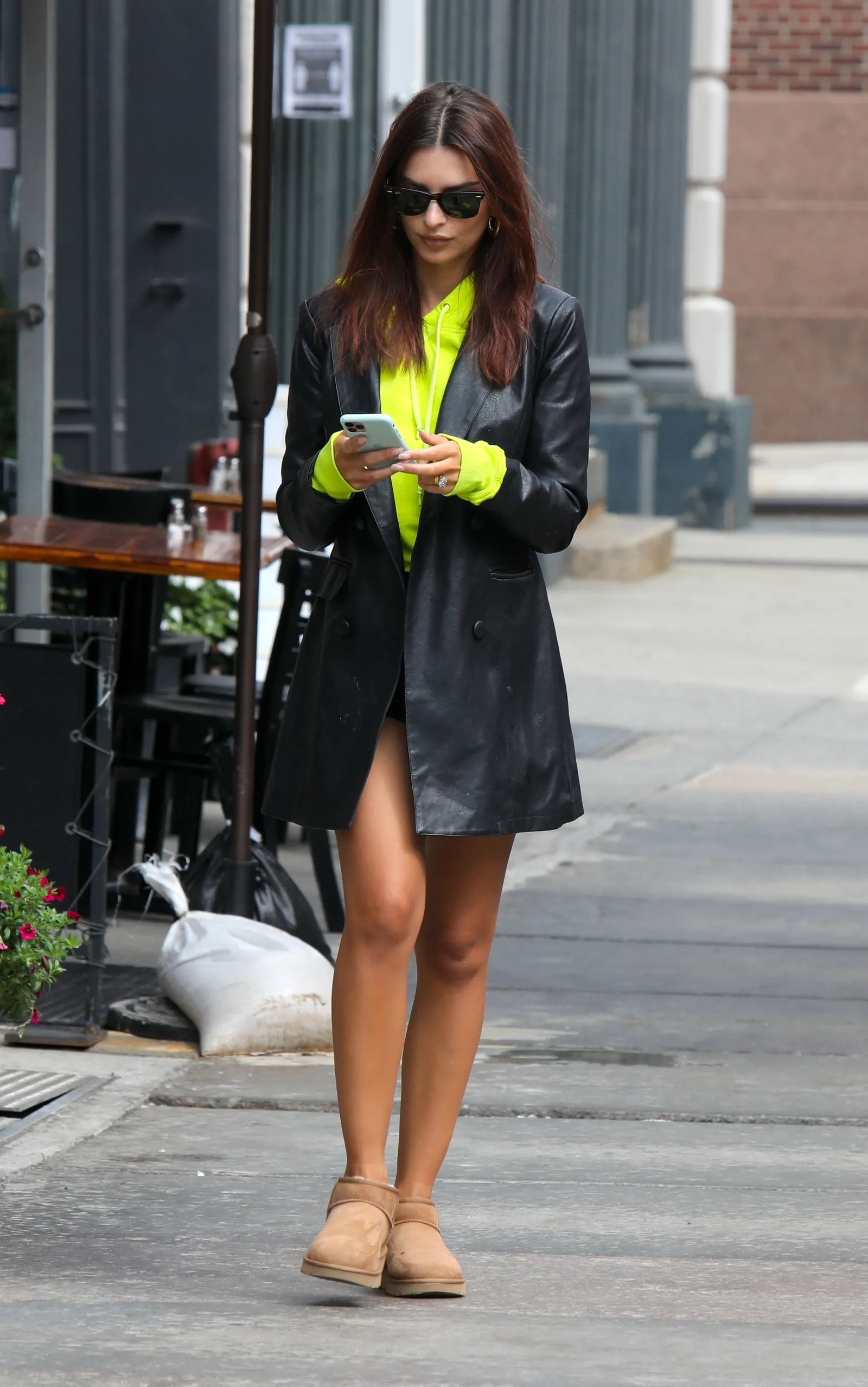 leather blazer with ugg ankle boots vogue