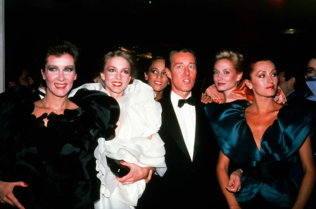 Halston and models attend Diana Vreelands Costume Institute gala at the Metropolitan Museum of Art on December 8 1981.