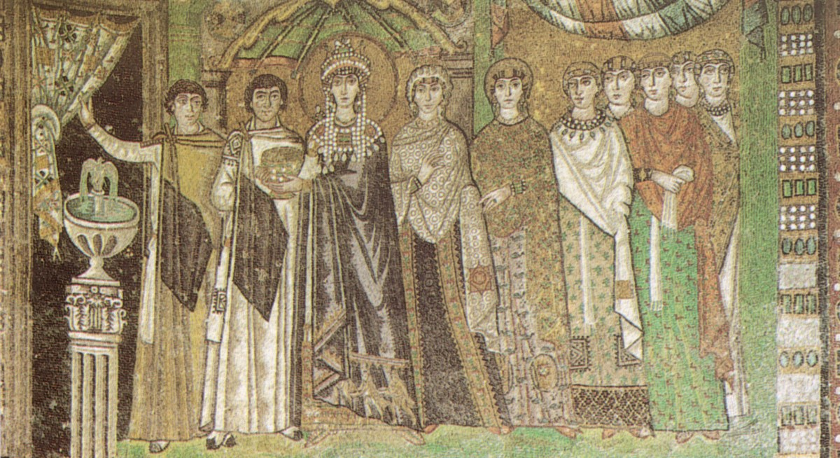 Byzantine mosaic in Basilica of San Vitale, Ravenna, depicting Empress Theodora (6th century) flanked by a chaplain and a court lady believed to be her confidant Antonina, wife of general Belisarius.