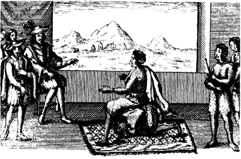 A contemporary illustration of Queen Nzinga in negotiations with the Portuguese