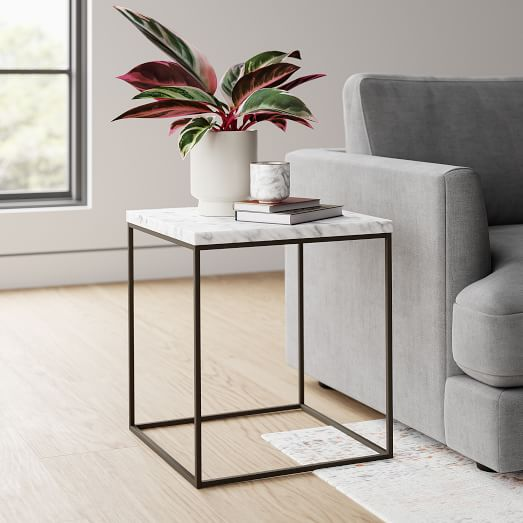 streamline square side table marble
