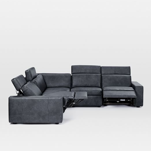 enzo leather 5 piece l shaped reclining sectional