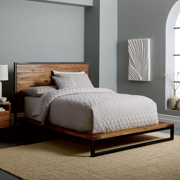 logan industrial platform bed natural