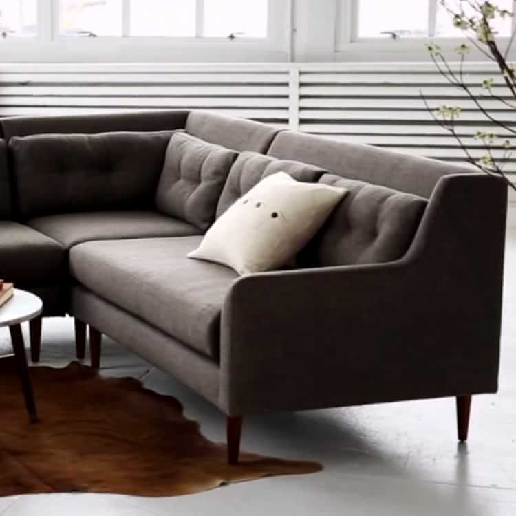 crosby mid century 2 piece chaise sectional