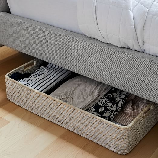 modern weave underbed storage basket whitewashed