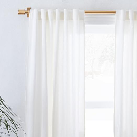 linen cotton curtain stone white