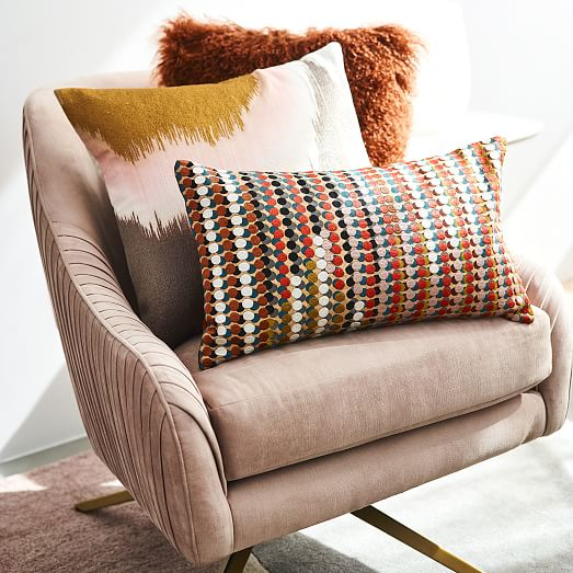 embroidered abstract ikat pillow covers