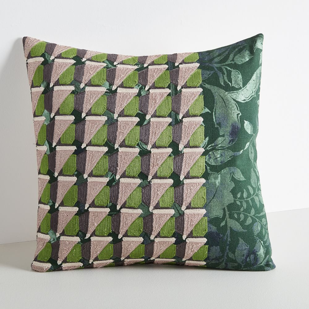 embroidered geo floral pillow cover