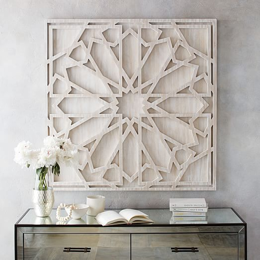 Graphic Wood Wall Art Whitewashed Square