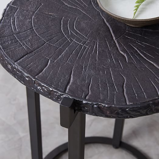 metal wood slice side table