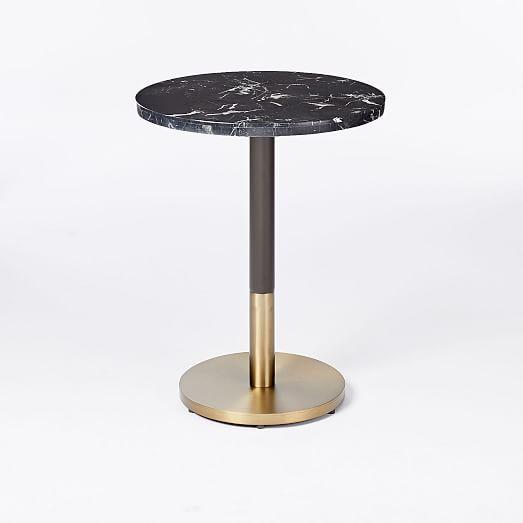 black marble round bistro table orbit base