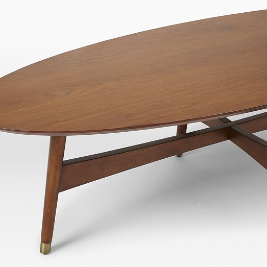 reeve mid century oval coffee table pecan