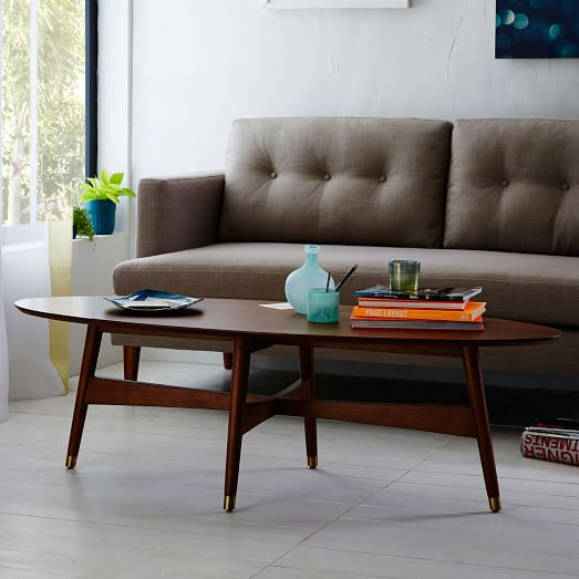 reeve mid century oval coffee table pecan