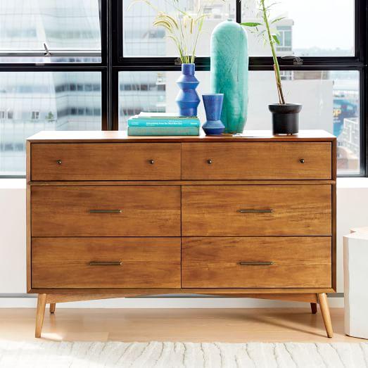 mid century 6 drawer dresser acorn