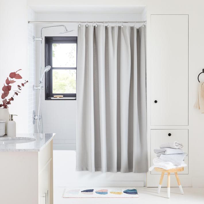 organic mini waffle weave shower curtain