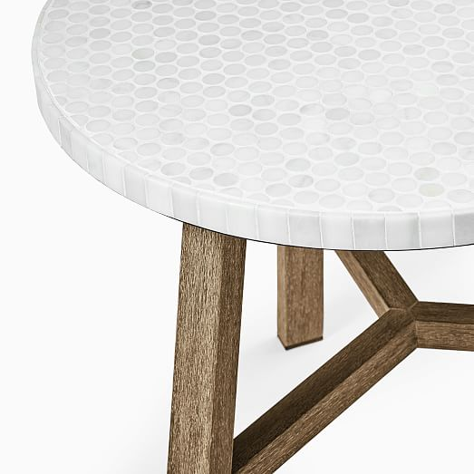 mosaic tiled outdoor bistro table white marble