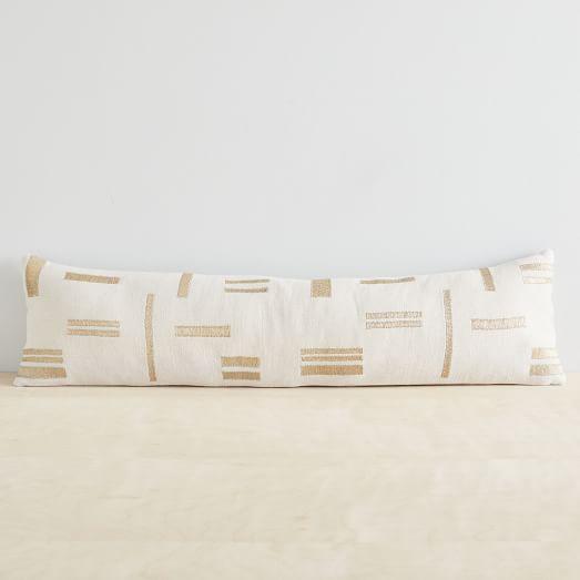 embroidered metallic blocks oversized lumbar pillow cover